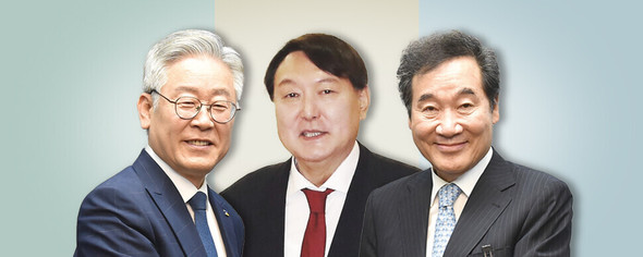 大統領選候補、与党「ツートップ」いずれも二者対決でユン・ソクヨル前総長をリード