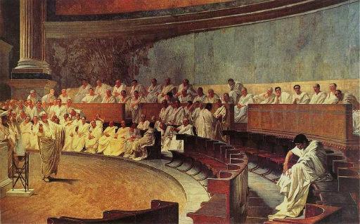 키케로는 우정을 인간관계의 이상형으로 봤다. 기원전 63년 고대 로마의 원로원에서 키케로가 연설을 하고 있는 장면.