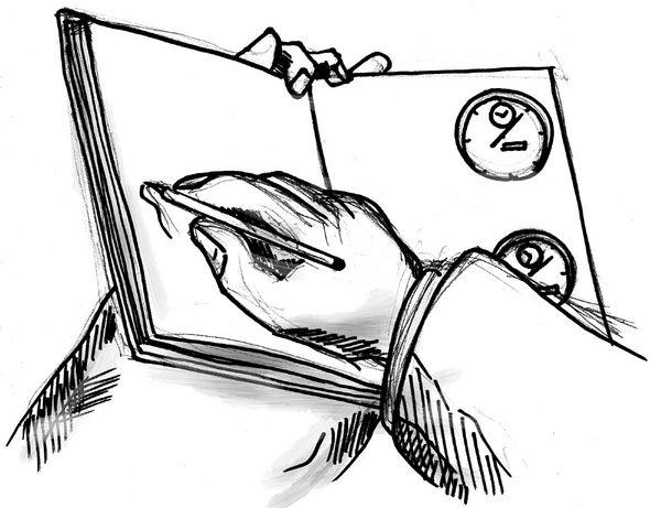 테일러가 스톱워치를 통해 시간연구를 하는 모습을 그린 스케치. 연구 대상인 노동자가 볼 수 없도록 스톱워치가 감추어져 있다.