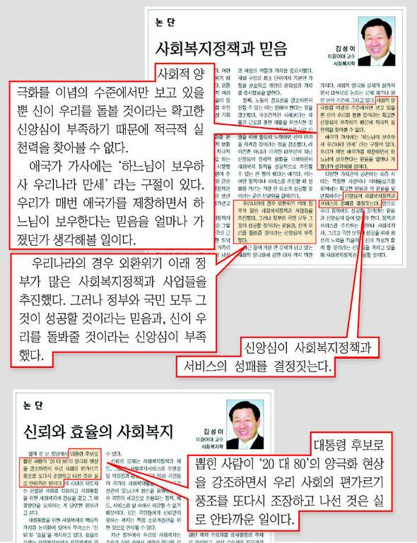 """김성이 보건복지가족부 장관 후보자가 지난해 5월31일치 <국민일보> 논단에 기고한 글. '사회복지 정책과 믿음'이라는 제목의 이 글에서 김 후보자는 """"신앙심이 사회복지 정책과 서비스의 성패를 결정짓는다""""고 밝히고 있다."""