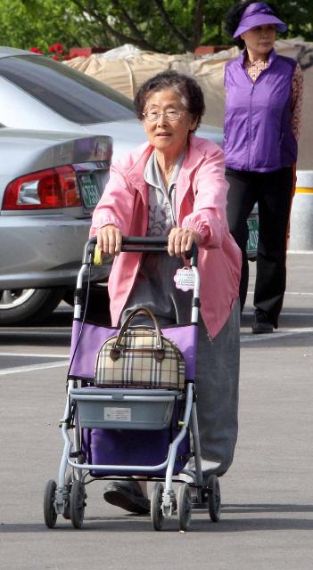 유모차에 의지한 한 유권자가 경남 산청군 시천면 덕산중에서 투표를 마친 뒤 집으로 돌아가고 있다.  산청/김태형 기자