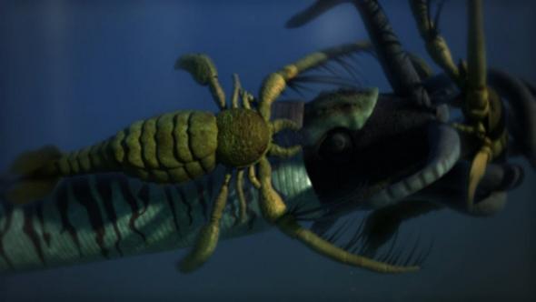 <지구대멸종 시리즈> 1편에 등장하는 '나우틸로이드'와 '광익류'의 싸움. 두 생물 중 덩치가 큰 쪽이 고생대에 살았던 나우틸로이드다. 광익류는 석탄기까지 존재했던 것으로 추정되는 절지동물이다. 교육방송 제공