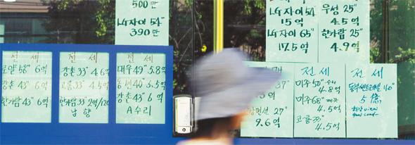 19일 오후 서울 용산구 이촌동의 한 부동산 게시판 앞으로 주민이 지나가고 있다. 김태형 기자 xogud555@hani.co.kr
