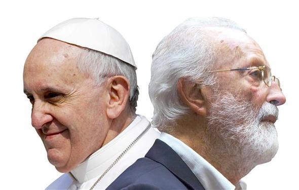 프란치스코 교황(왼쪽)과 이야기를 나눈 이탈리아 언론인 에우제니오 스칼파리. 교황은 교회의 목적이 선교가 아니라고 말했다. 가난한 사람들을 돕는 청빈한 교회야말로 예수와 그 사도들이 세우려 했던 교회라는 것이다.  바다출판사 제공