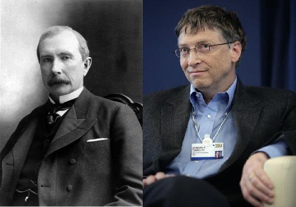 사상 최초의 억만장자이자 사상 최고의 갑부로 일컬어지는 존 D. 록펠러(1839~1937, 왼쪽)과 현재 세계 최고 갑부인 빌 게이츠 마이크로소프트 창업자. 위키피디아