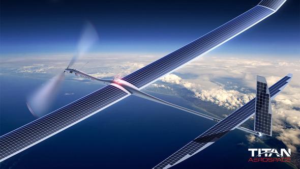 구글이 인수한 타이탄 에어로스페이스의 태양광 드론 '솔라라 50'. Titan Aerospace