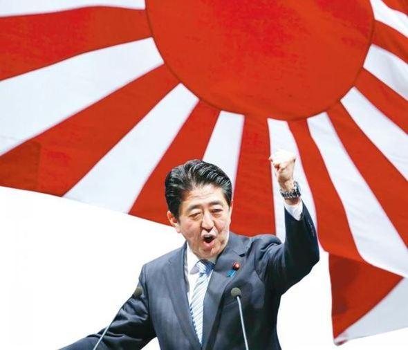 아베 신조 일본 총리가 도쿄에서 열린 자민당의 연례 전당 대회에 참석해 연설하고 있는 모습 그래픽.