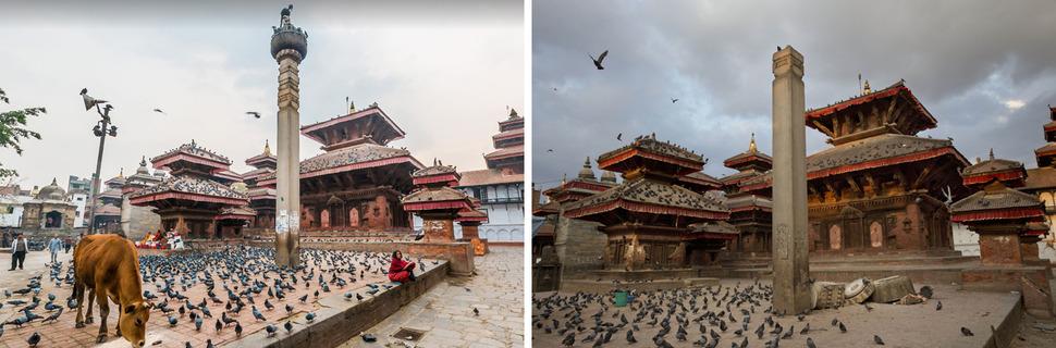프라탑 말라 왕 동상(King Pratap Malla Statue). 왼쪽 구글 뷰(Google View) 2015년 2월 15일, 오른쪽 AP 2015년 4월 26일. 사진을 클릭하면 크게 보입니다.