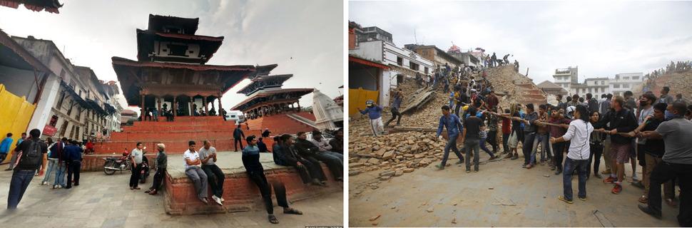 나라얀 사원(Trailokya Mohan Narayan Temple). 왼쪽 구글 뷰(Google View) 2014년 4월 6일, 오른쪽 AP 2015년 4월 25일. 사진을 클릭하면 크게 보입니다.