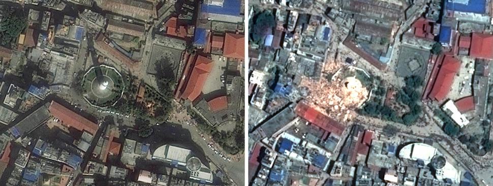 다라하라 타워(Dharahara Tower). 왼쪽 AFP 2013년 11월 3일, 오른쪽 AFP 2015년 4월 27일. 사진을 클릭하면 크게 보입니다.
