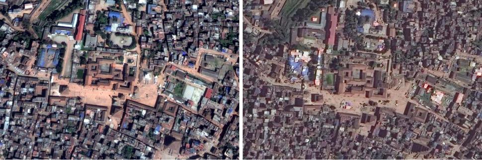 박타푸르 두르바르 광장(Bhaktapur Durbar Square). 왼쪽 구글 어스(Google Earth) 2015년 3월 12일, 오른쪽 디지털글러브(DigitalGlobe) 2015년 4월 27일. 사진을 클릭하면 크게 보입니다.