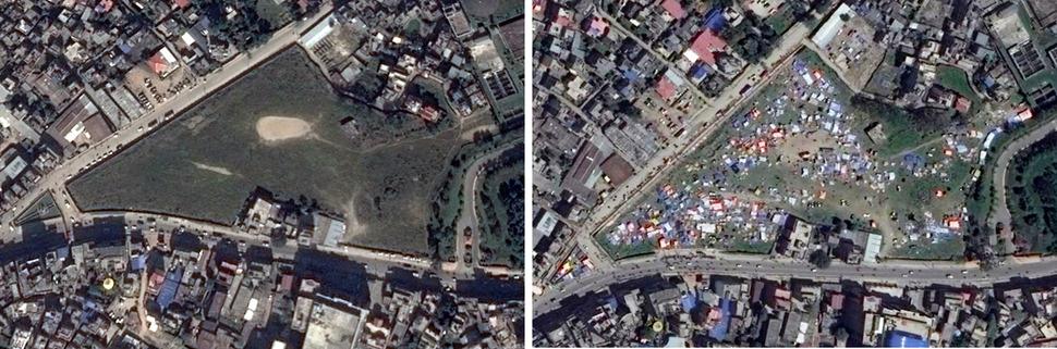 타라 곤 공원(Tara Goan Park, Katmandu). 왼쪽 구글 어스(Google Earth) 2014년 11월 2일, 오른쪽 디지털글러브(DigitalGlobe) 2015년 4월 27일. 사진을 클릭하면 크게 보입니다.
