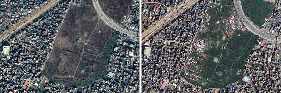 카트만두 공항 남쪽. 왼쪽 구글 어스(Google Earth) 2014년 12월 18일, 오른쪽 디지털글러브(DigitalGlobe) 2015년 4월 27일. 사진을 클릭하면 크게 보입니다.