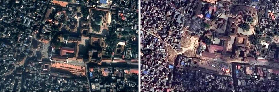 카트만두 두르바르 광장(Kathmandu Durbar Square). 왼쪽 구글 어스(Google Earth) 2014년 11월 13일, 오른쪽 디지털글러브(DigitalGlobe) 2015년 4월 27일. 사진을 클릭하면 크게 보입니다.