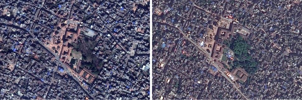 파탄 두르바르 광장(Patan Durbar Square). 왼쪽 구글 어스(Google Earth) 2013년 2월 13일, 오른쪽 디지털글러브(DigitalGlobe) 2015년 4월 27일. 사진을 클릭하면 크게 보입니다.