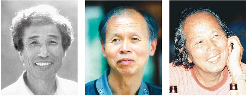 왼쪽부터 이오덕, 권정생, 하이타니 겐지로