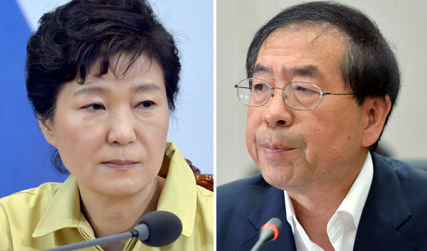 박근혜 대통령-박원순 서울시장. 한겨레 자료사진