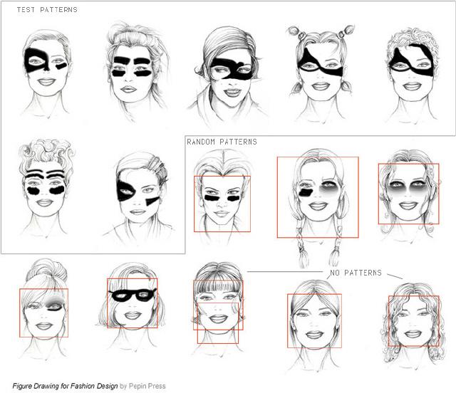 컴퓨터의 얼굴 인식 알고리즘을 화장법을 통해 벗어나 보려는 예술적 저항 방식의 하나인 '시브이 대즐'(Computer Vision Dazzle)의 예시 사진들. 얼굴 인식 알고리즘의 특성상 이런 화장들을 통해서도 컴퓨터는 해당 사람의 얼굴을 분간해 내지 못한다. 최근 페이스북이 얼굴이 가려져도 사람을 구분하는 알고리즘을 개발한 사실이 드러났다.