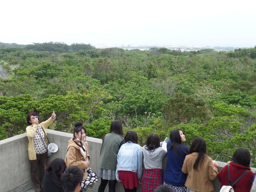 후텐마 기지 내부를 멀리서나마 조망할 수 있는 전망대에서 기지 안쪽을 바라보는 사람들.