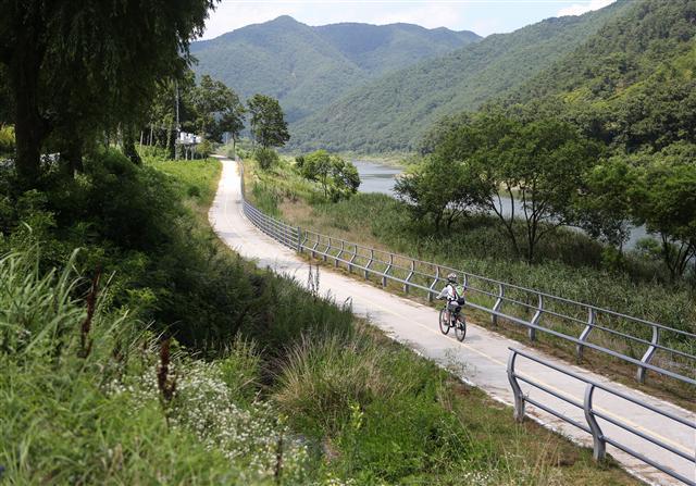 전남 곡성군 오곡면~죽곡면 섬진강변 자전거도로. 사진 이병학 선임기자