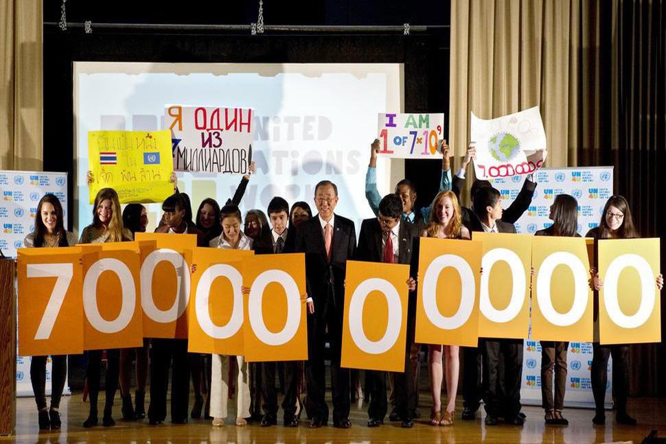 세계 인구는 2011년에 70억을 돌파했다. 유엔 제공