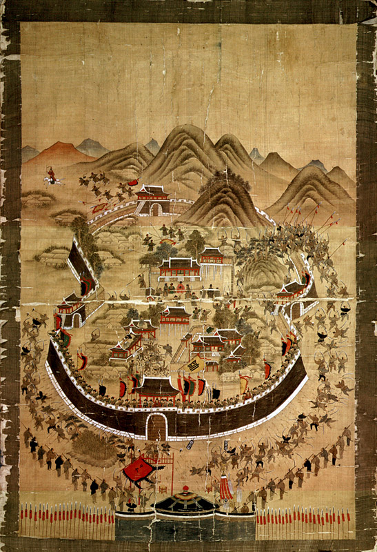부산 동래읍성 전투 장면을 묘사한 동래부순절도. 1760년(영조 36년) 변박이 그린 그림으로 알려져 있다. 당시 송상현 동래부사가 왜군과 대치하는 모습, 경상좌병사 이각이 달아나는 장면 등이 그려져 있다. 한겨레 자료사진
