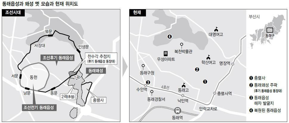 동래읍성과 왜성 옛 모습과 현재 위치도 (※클릭하면 확대됩니다.)