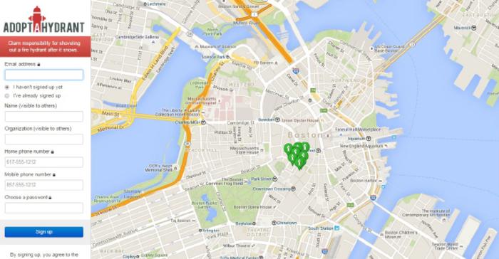 미국의 대표적인 시빅해킹 시민단체 '코드포아메리카'가 보스턴시에 제안한 '소화전 입양하기' 애플리케이션. 2011년 폭설로 교통이 마비된 거리의 소화전 위치를 표시해 시민들이 소화전을 사용·관리할 수 있도록 했다.  '소화전 입양하기' 누리집