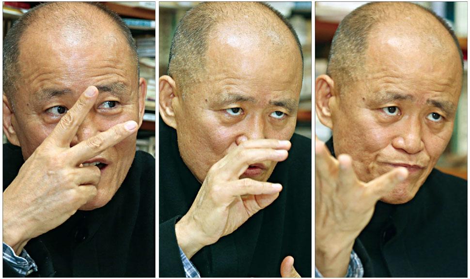 """도올 김용옥은 """"21세기에 중국이 다시 옛날의 저력을 발휘하리라는 것은 의심의 여지가 없다""""며, 중국의 미래를 비교적 밝게 내다봤다. 강재훈 선임기자 khan@hani.co.kr"""