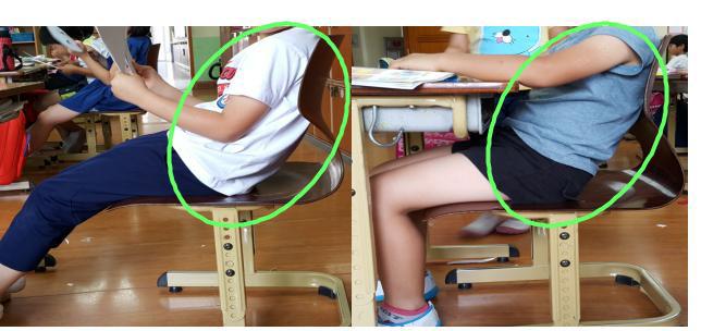 체격에 맞지 않는 의자를 장기간 사용했을 때의 문제점.