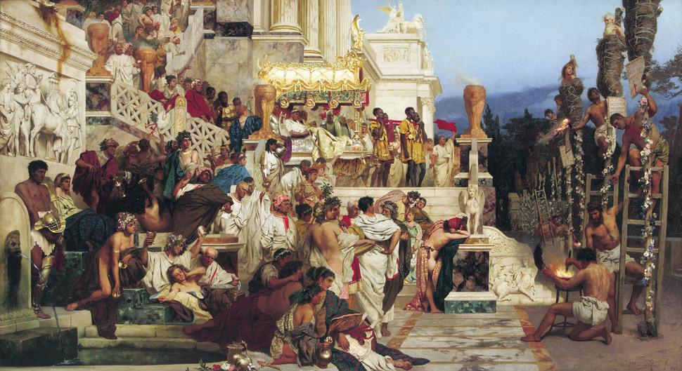 기독교도를 화형에 처하도록 명령하는 네로 황제. 폴란드 화가 헨리크 헥토르 시에미라즈키(1843~1902)의 그림. 1877년 제작.
