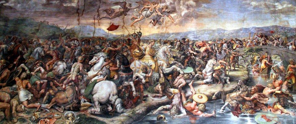 밀비우스 다리의 전투, 줄리오 로마노(1520~1524), 바티칸 박물관. 콘스탄티누스 대제는 이 전투에서 승리하여 로마 제국 전체를 다스릴 수 있는 전환점을 마련했다.