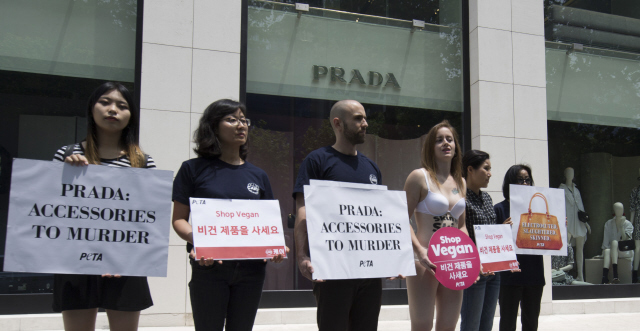 8eefe7f32108b0 Members of animal rights groups CARE and PETA hold a press conference in  front of a Prada store in Seoul's Chungdam area, calling on Prada to stop  sales of ...