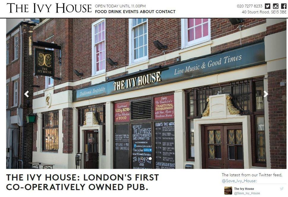 영국 런던 남부 넌헤드 지역의 펍인 '아이비하우스'는 영국 최초이자 런던 최초로 이 지역 주민들로 구성된 사회적협동조합이 운영하고 있다. 펍의 누리집에 '런던 최초의 협동조합 소유 펍'이라 쓰여 있다. ivyhousenunhead.com