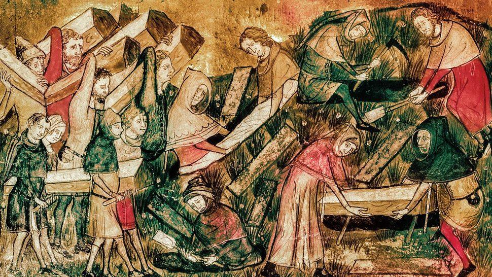 1349년 투르네의 흑사병, 질 르 뮈지(1272~1352), 브뤼셀, 벨기에 왕립미술관.