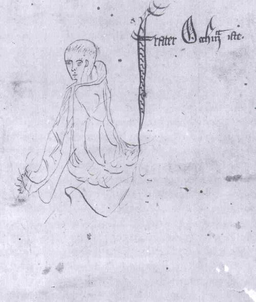 """""""이 오컴 수사"""", <논리학 대전> 곤빌 앤 카유스 칼리지 수사본, 1330년경, 캠브리지."""