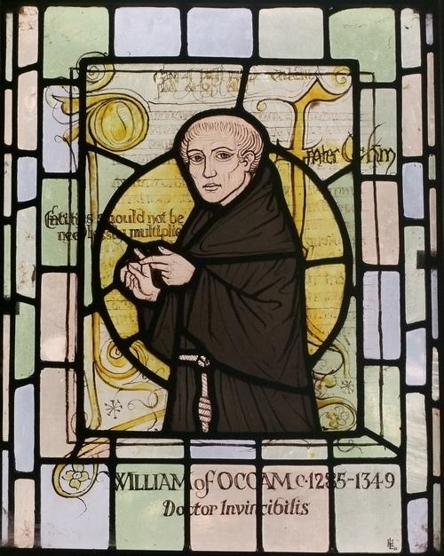 윌리엄 오컴,영국 서리교회의 스테인드글라스.