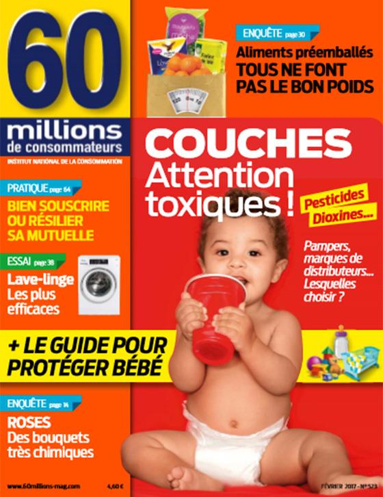 팸퍼스 유해물질 검출을 보도한 프랑스 매체 '6000만 소비자들' 표지 캡쳐.