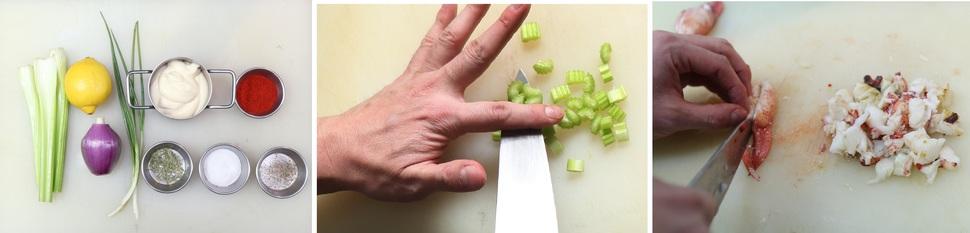① 랍스터롤 재료를 준비한다. ② 랍스터롤의 재료인 샐러리, 양파, 쪽파를 잘게 자른다. ③ 껍질을 벗긴 랍스터 살을 자른다. 박미향 기자