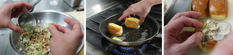 ④ 잘게 자른 식재료들와 양념들을 섞는다. ⑤ 양면을 자른 모닝빵을 버터를 넣은 팬에 살짝 굽는다. ⑥ 잘 구운 빵 가운데를 자르고 속재료를 넣는다. 박미향 기자