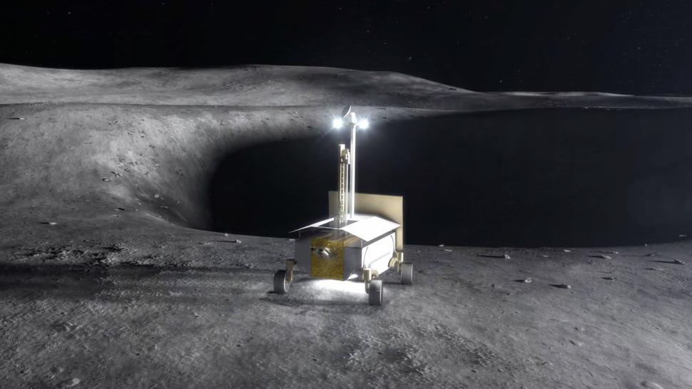 달 표면의 성분과 자원을 채취해 분석하는 모습을 상상한 이미지. NASA
