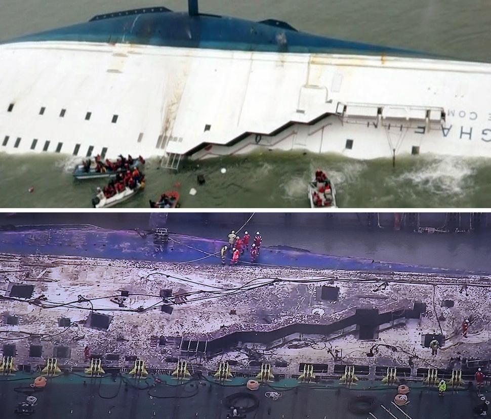 3년여간 바닷속에 가라앉아 있던 세월호가 23일 오전 마침내 물 위로 모습을 드러냈다. 2014년 4월16일 사고 당일 침몰 중인 세월호(위)와 1073일 만에 끌어올려진 세월호(아래). 해양경찰청 제공, MBC 뉴스 화면 캡처