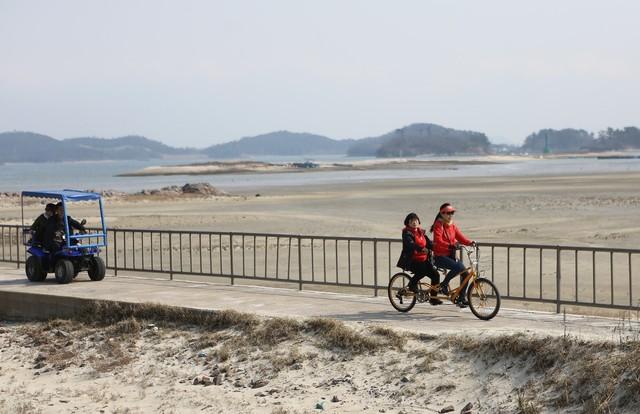 선유도에서 자전거와 전기차, 에이티비 등을 빌려 탈 수 있다.