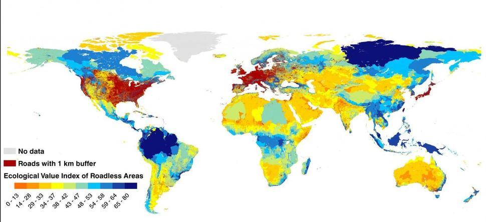 도로가 갈라놓은 지구. 파란색은 도로가 많지 않아 자연 생태계가 잘 보존된 곳, 빨간색은 밀집된 도로로 자연 생태계가 망가진 지역이다. 과학저널 <사이언스>
