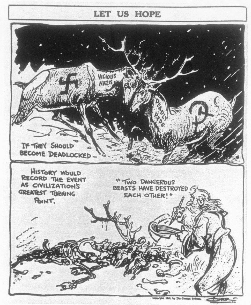 모스크바 전투로 전쟁의 흐름이 바뀐 1941년 12월4일 <시카고트리뷴>에는 나치즘과 소비에트 공산주의라는 두 마리 야수들이 서로를 죽이길 바란다는 내용의 만평이 실렸다. 출처 <검열된 전쟁>(조지 레더). 오월의봄 제공