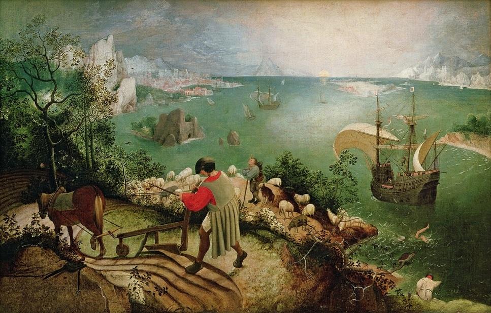 1555년 피터르 브뤼헐이 그린 유화 '이카로스의 추락'. 오른쪽 아래에 바다에 빠진 이카로스의 다리만 보인다. 위키코먼스 제공