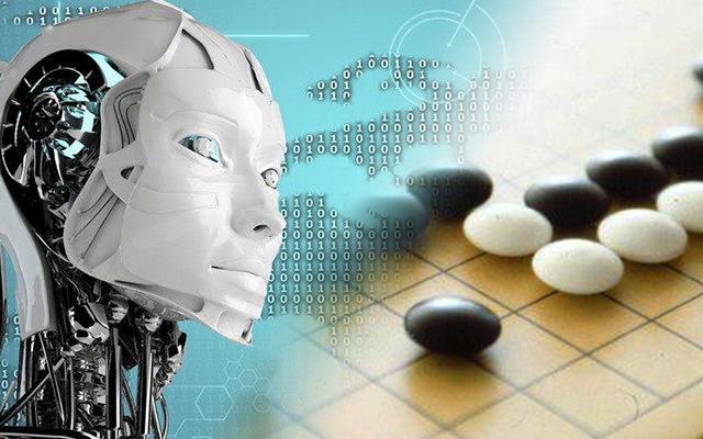 인공지능과 로봇, 바둑을 합성한 이미지