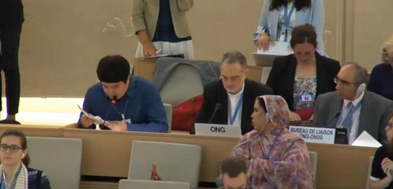 9일 오전(현지시각) 스위스 제네바에서 열린 유엔인권이사회에서 삼성전자 하청업체에서 일하다 메탄올 중독으로 실명을 당한 김영신(29·사진 왼쪽)씨가 메탄올 실명사건과 한국정부, 삼성·엘지전자의 책임을 호소하는 발언을 하고 있다. 유엔누리집 갈무리