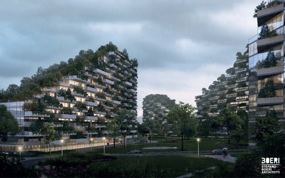 건물 외벽의 나무들은 외부의 소음을 차단해 준다. 스테파노 보에리 건축 제공