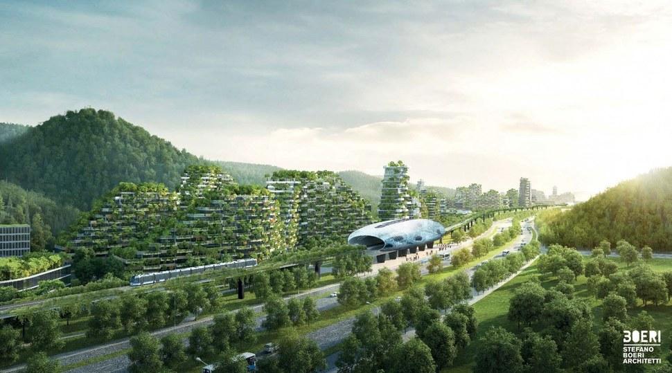 류저우시와 수직숲 도시는 급행전철로 연결된다. 스테파노 보에리 건축 제공